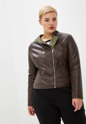 Куртка кожаная Incity. Цвет: коричневый