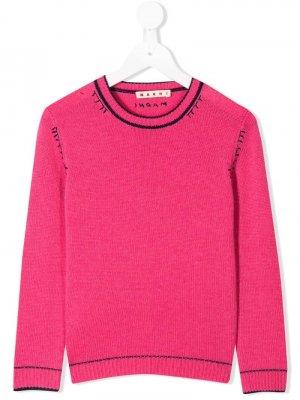 Пуловер с круглым вырезом Marni Kids. Цвет: розовый
