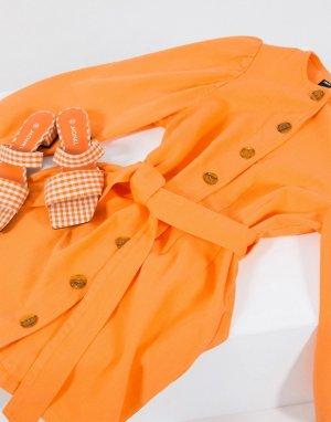 Оранжевое джинсовое платье с пышными рукавами и поясом -Оранжевый ASOS DESIGN