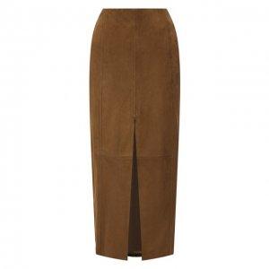 Замшевая юбка DROMe. Цвет: коричневый