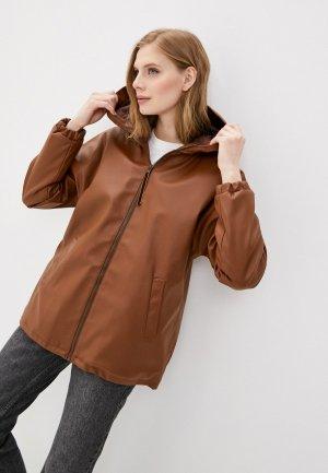 Куртка кожаная Vera Lapina. Цвет: коричневый