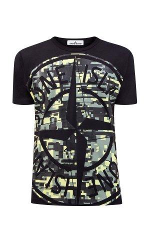 Хлопковая футболка из джерси с динамичной макро-аппликацией STONE ISLAND. Цвет: черный
