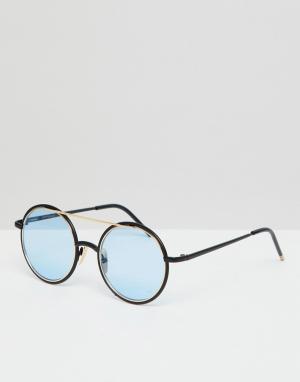 Круглые солнцезащитные очки с синими стеклами inspired Reclaimed Vintage. Цвет: черный