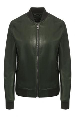 Однотонная кожаная куртка Dolce & Gabbana. Цвет: зелёный