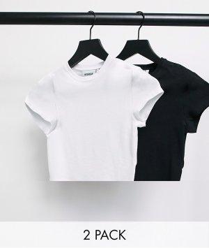 Набор из 2 укороченных футболок органического хлопка (черная/белая) Sabra-Многоцветный Weekday