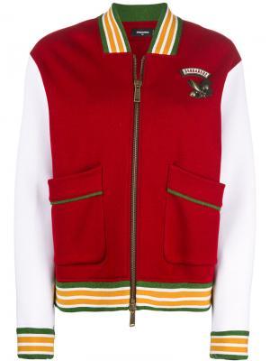 Куртка-бомбер дизайна колор-блок Dsquared2. Цвет: красный