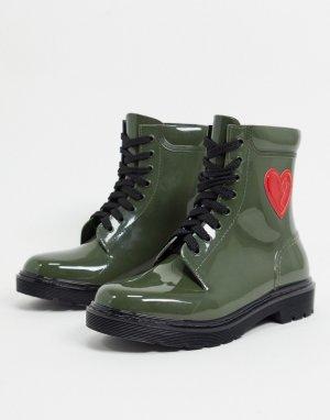 Зеленые резиновые сапоги с сердцем сбоку -Зеленый Love Moschino