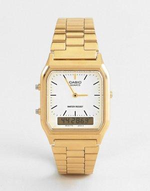 Цифровые часы-браслет в стиле унисекс AQ-230GA-9DMQYES Unisex-Золотистый Casio
