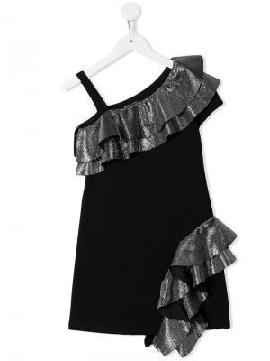 Платье с открытыми плечами и оборками Balmain Kids. Цвет: черный