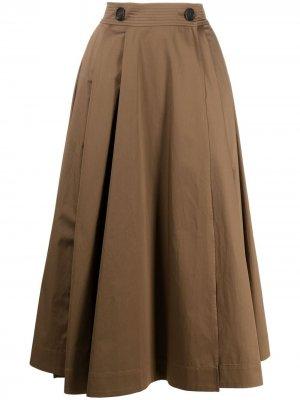 S Max Mara расклешенная юбка со складками 'S. Цвет: коричневый