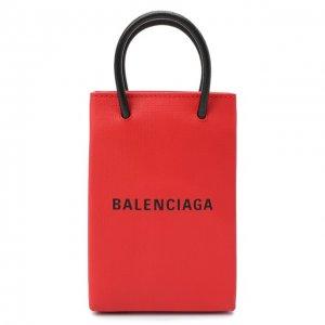 Кожаный чехол Shopping для телефона Balenciaga. Цвет: красный