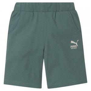 Детские шорты T4C Knitted Kids Shorts PUMA. Цвет: зеленый