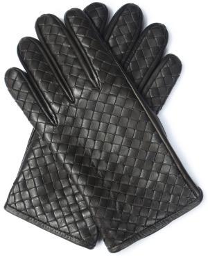 Кожаные перчатки Bottega Veneta. Цвет: черный