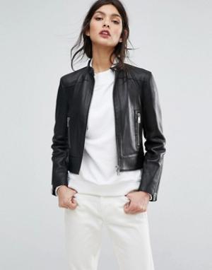 Кожаная куртка с необработанным краем Jaeger. Цвет: черный