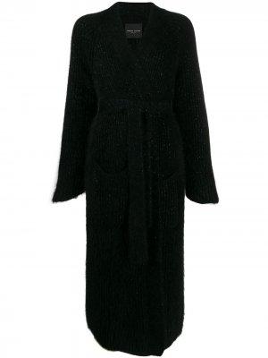 Пальто с поясом Roberto Collina. Цвет: черный