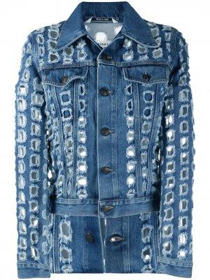 Джинсовая куртка с вырезами Maison Margiela. Цвет: синий