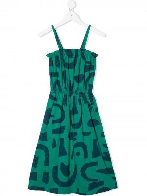 Платье А-силуэта с абстрактным принтом Bobo Choses. Цвет: зеленый