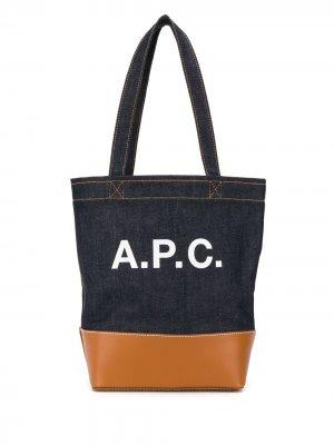 Logo print tote bag A.P.C.. Цвет: синий