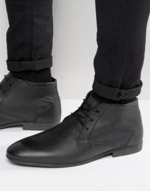 Черные кожаные ботинки-чукка ASOS DESIGN. Цвет: черный