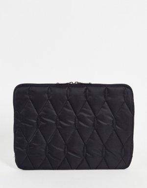 Черный стеганый чехол для 13-дюймового ноутбука -Черный цвет ASOS DESIGN