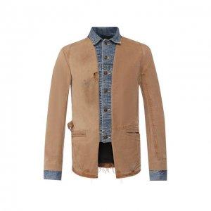 Хлопковая куртка Greg Lauren. Цвет: бежевый