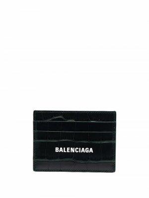 Картхолдер с тиснением под крокодила Balenciaga. Цвет: черный