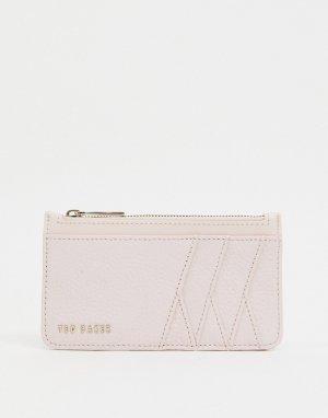 Светло-розовая кредитница с диагональным узором и молнией Gerii-Розовый цвет Ted Baker