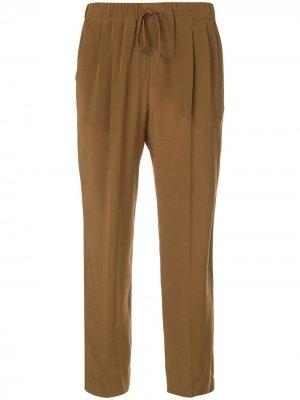 Укороченные брюки на кулиске Max Mara. Цвет: коричневый