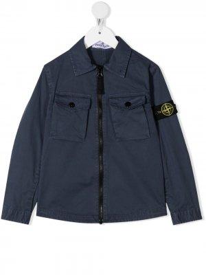 Куртка-рубашка на молнии Stone Island Junior. Цвет: синий