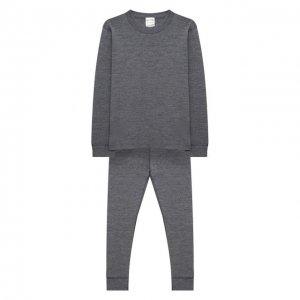 Комплект из лонгслива и брюк Wool&Cotton. Цвет: серый