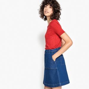 Пуловер в горошек с круглым вырезом и короткими рукавами LA REDOUTE COLLECTIONS. Цвет: рисунок/красный фон
