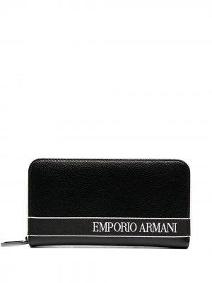 Logo zipped wallet Emporio Armani. Цвет: черный