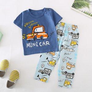 Пижама с оригинальным принтом для мальчиков SHEIN. Цвет: многоцветный