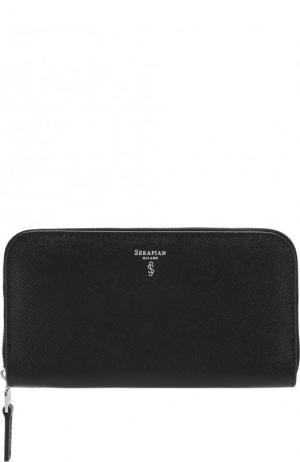 Кожаный футляр для документов с отделениями кредитных карт Serapian. Цвет: черный