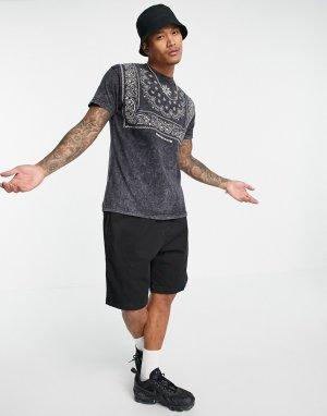 Черная oversized-футболка с принтом банданы -Черный цвет Mennace