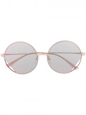 Солнцезащитные очки в круглой оправе Moschino Eyewear. Цвет: розовый