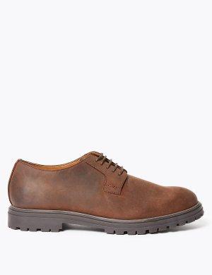 Мужские кожаные туфли дерби M&S Collection. Цвет: коричневый