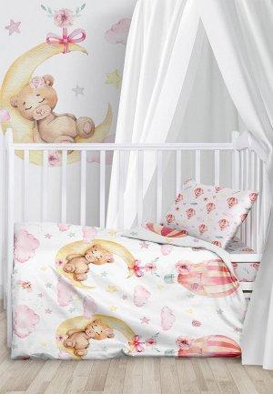 Постельное белье детское Juno Сонная мишка-девочка. Цвет: белый