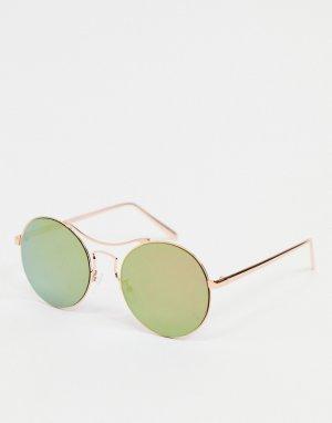 Солнцезащитные очки-авиаторы в золотисто-розовой оправе с розовыми линзами -Золотистый AJ Morgan