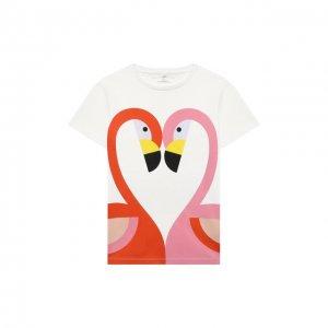 Хлопковая футболка Stella McCartney. Цвет: белый