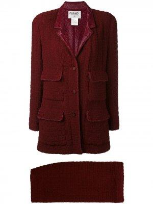 Объемный твидовый костюм 1998 года выпуска Chanel Pre-Owned. Цвет: красный