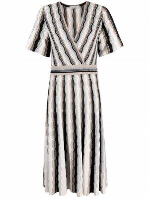 Платье с короткими рукавами и V-образным вырезом D.Exterior. Цвет: черный