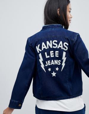Джинсовая куртка без воротника с вышивкой Lee. Цвет: синий