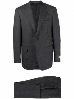 Костюм с однобортным пиджаком из шерсти Canali. Цвет: серый