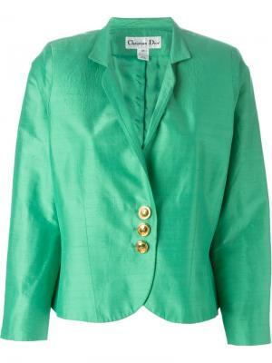 Атласный уороченный пиджак Christian Dior Pre-Owned. Цвет: зеленый