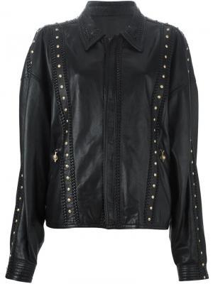 Кожаная куртка с заклёпками Versace Vintage. Цвет: чёрный