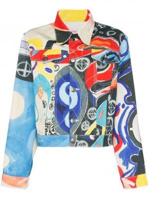 Джинсовая куртка с принтом Charles Jeffrey Loverboy. Цвет: разноцветный