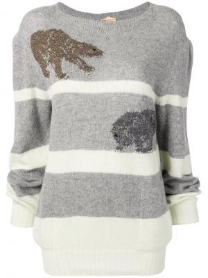 Джемпер с вышивкой Krizia Pre-Owned. Цвет: серый