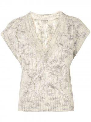 Джемпер фактурной вязки без рукавов Nina Ricci. Цвет: нейтральные цвета