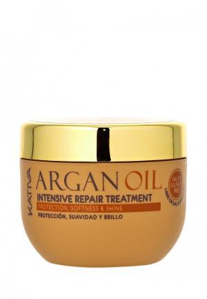 Маска для волос Kativa ARGANA интенсивная восстанавливающая с маслом арганы. Цвет: белый